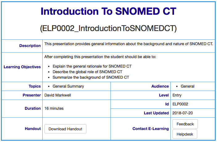 Snomed Ct E Learning Course Guide E Learning Presentation Feedback